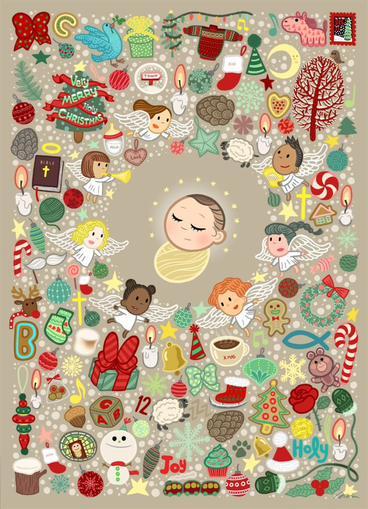 Merry Christmas, Baby Jesus (메리 크리스마스, 아기예수님)  28 x 20 (inch)  'Merry Christmas, Baby Jesus' 는 12월 25일 세상의 빛으로 오신 아기예수님의 탄생일을 맞아  크리스마스에 관한 멋진 것들이 모여 기뻐하고 축하하는 모습을 그린 일러스트레이션입니다. 12월 25일, 천사들, 트리들, 선물들, 전구들, 별들, 달, 눈꽃송이들과 크리스마스 방울장식들...  모두 모두 아기 예수님의 탄생을 축하하고 있어요.  메리 크리스마스 !  이번 연말은 여러분 모두에게 따뜻하고 행복한 시간이 되기를 바랍니다.  'Merry Christmas, Baby Jesus' is a festive Christmas illustration depicts the birth of Jesus Christ on the 25th of December. All the best things about Christmas are gathering…