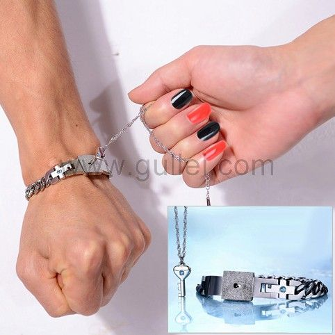 Engraved Real Lock Key Bracelet Necklace Christmas Gift for 2