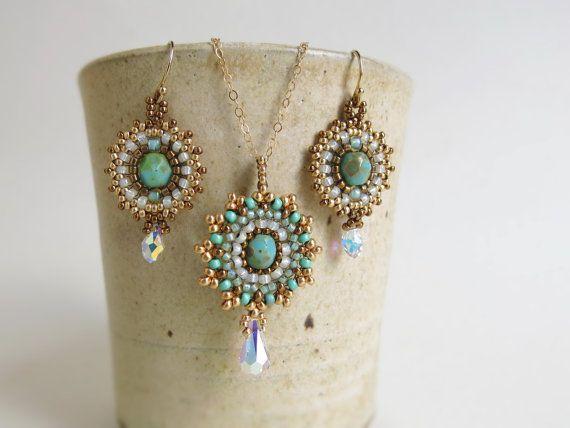 matrimonio unico set, Boho chic sposa, gioielli di nozze per le spose, sposa turchese, orecchini di perline collana impostata, orecchini sposa