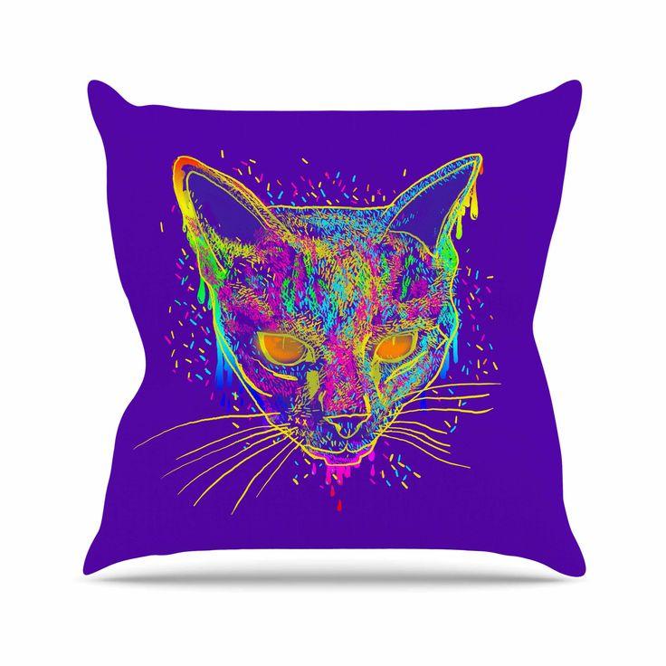 "Frederic Levy-Hadida ""Candy Cat Purple"" Rainbow Purple Throw Pillow"