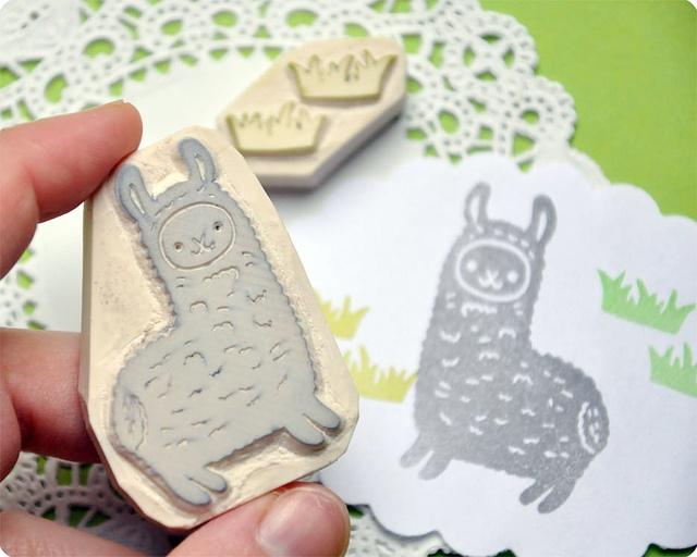 Llama hand carved rubber stamp   Flickr - Fotosharing!