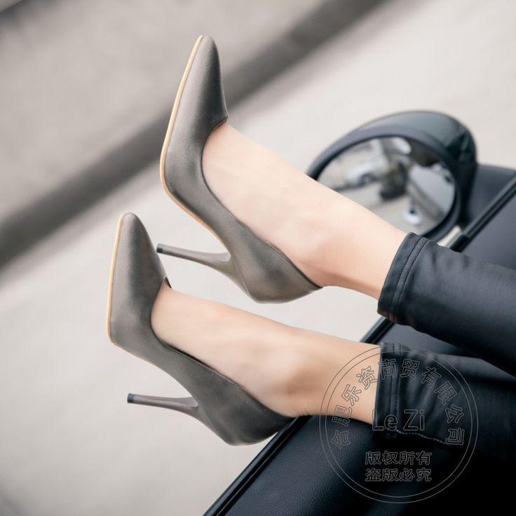 Festa Show de Salto Fino Boca Rasa Casuais Das Mulheres Bege Alta Saltos Gatinho Sapatos 2016 Sapatos de Casamento Do Dedo Do Pé Apontado Escritório Graciosa Senhora(China (Mainland))