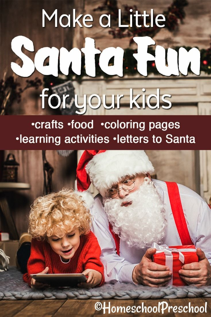 Kids love everything related to Santa during the month of December! This is a fantastic list of Santa fun for kids that the whole family will enjoy. #christmas #santa #santafunforkids #christmascrafts #santacraftsforkids #santafoodforkids #santapreschool   https://homeschoolpreschool.net/santa-fun-for-kids/