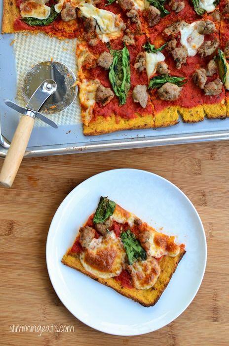 Slimming Eats - Cauliflower Pizza - gluten free, paleo, vegetarian, Slimming World and Weight Watchers friendly