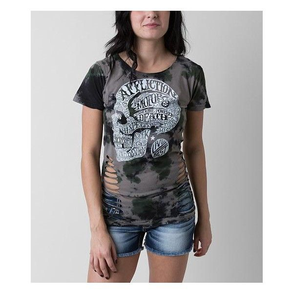Affliction Motor Head T-Shirt ($54) ❤ liked on Polyvore featuring tops, t-shirts, tie dye tops, affliction t shirts, tye dye t shirts, graphic t shirts and tye die t shirts