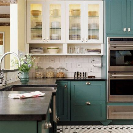 I don't care for the reeded glass, but the green-blue color is nice.  Would this work with our gray counters?  classic kitchen with blue-green cabinets - BH&G via Atticmag