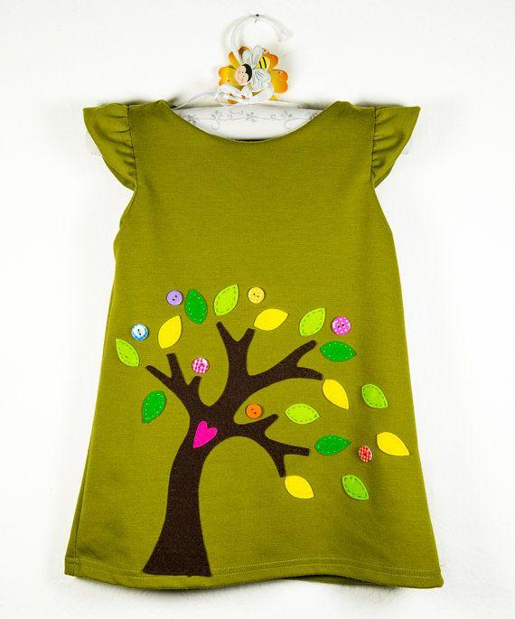Little felt tree dressfelt leaves appliquegreen and by marvieshop  – Baybys&Girls