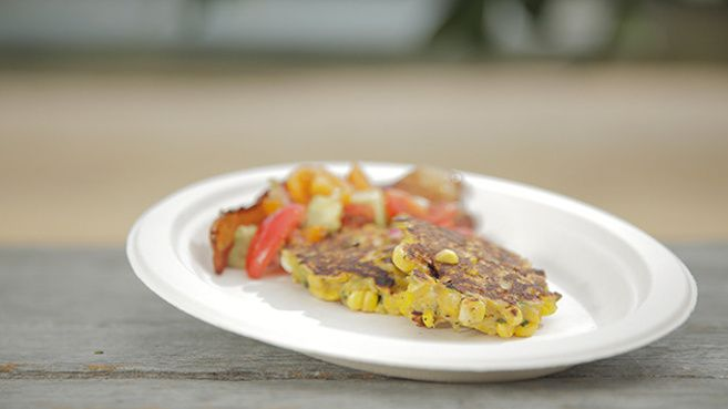 Zucchini and Corn Fritters with Maple Bacon and Tomato Salsa