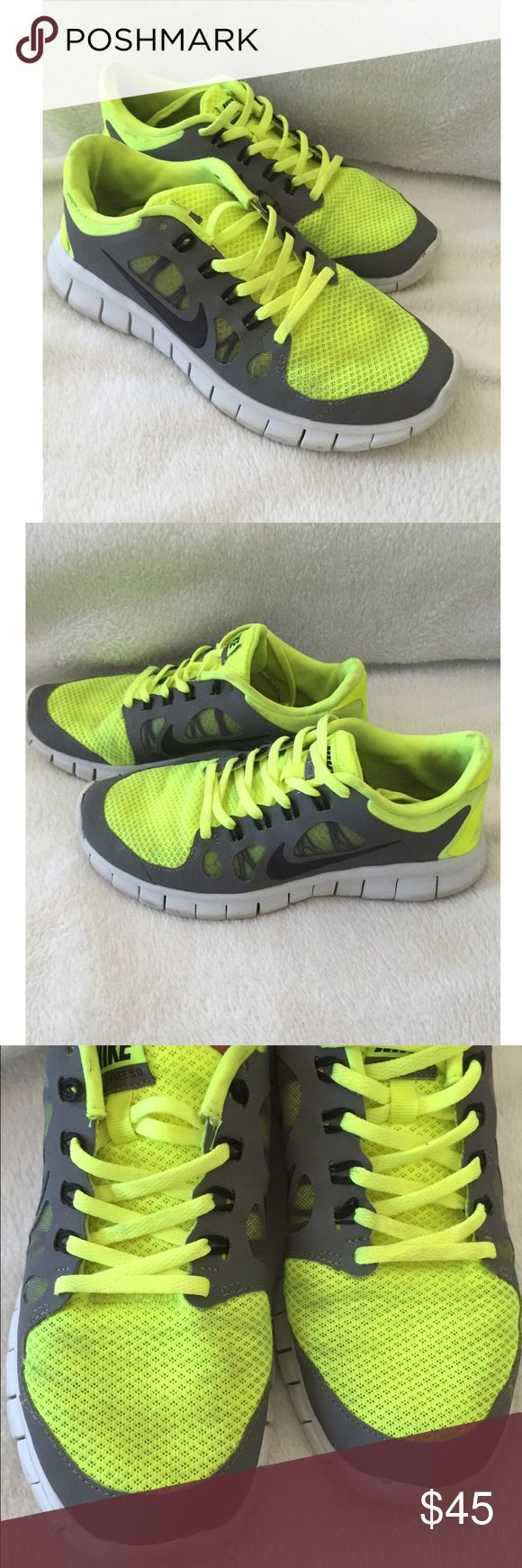 Lime green Nike free runners Lime green Nike free runners. Size 6.5Y size 7 adults. Usage shown in pictures. Please view pictures before purchasing. No returns Nike Shoes Sneakers