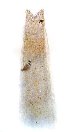 Melinda Le Guay, 'Covert' 2011, enamelled copper wire, thread, gauze, bone, brass brooch, pin, feather, paper, beads, 72 x 21 x 10cm