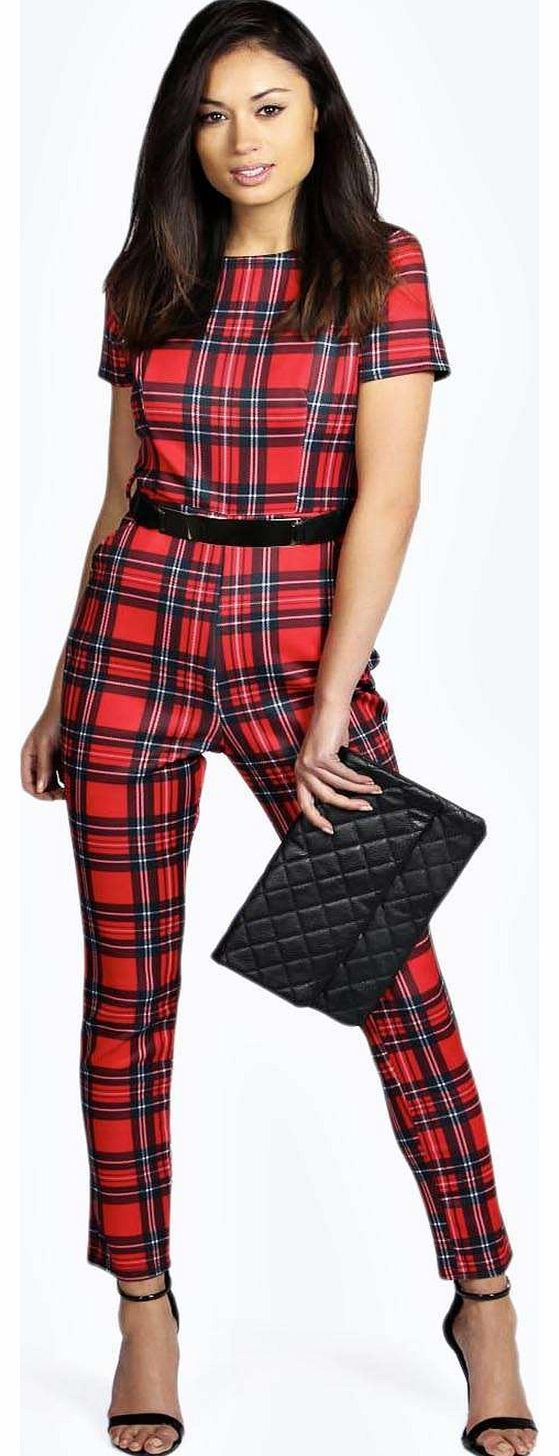 boohoo Jenni Red Check Gold Belt Jumpsuit - red azz16678 Make yourself a talking point in tartan with this checked jumpsuit . Belted at the waist for a defined silhouette, style it with strappy heels , a studded clutch and dark berry lip . http://www.comparestoreprices.co.uk/womens-clothes/boohoo-jenni-red-check-gold-belt-jumpsuit--red-azz16678.asp