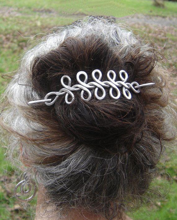 Chal de trenza larga celta aluminio pasador, perno de pelo, Pin, Pin de bufanda, pinza de pelo - cabello largo celta accesorios aluminio nudos celta