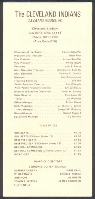 1972 Cleveland INDIANS Roster Sheet/Schedule #ClevelandIndians #RosterSheetSched