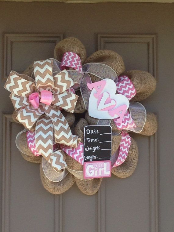 Hey, I found this really awesome Etsy listing at https://www.etsy.com/listing/206157887/baby-girl-wreath-for-hanging-on-hospital