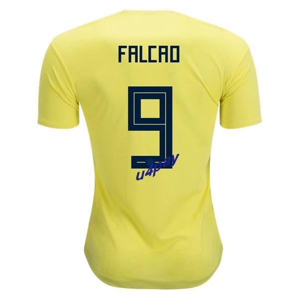 b8a7d059f Radamel Falcao 9 2018 FIFA World Cup Colombia Home Soccer Jersey ...
