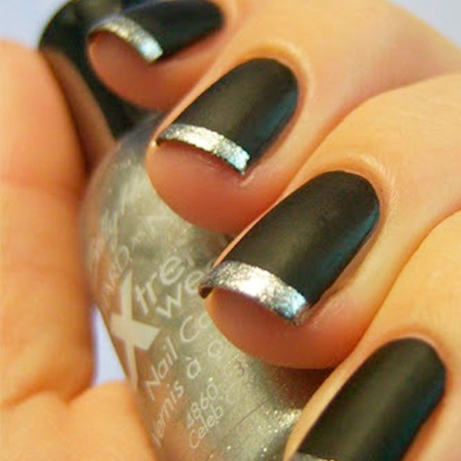 21 Captivating Designs for French Tip Nails ❤ Black and Silver Sparkle ❤ French tip nails are timeless and fun! From sexy nail designs to cute and girly nail art, we have it all! Check out our awesome gallery of French nail art!https://naildesignsjournal.com/french-tip-nails-captivating-designs/ #naildesignsjournal #nails