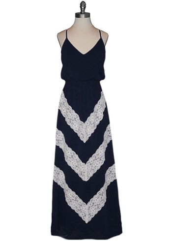 Judith March Chevron Lace Maxi Dress...would love this in anything but black
