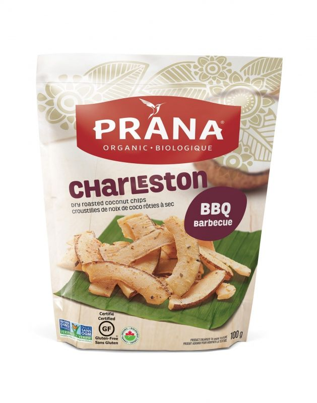 Buy Prana organic, natural, healthy Charleston BBQ flavoured dry roasted Coconut chips, strips, crisps snack. Available in a 100g snack bag format!