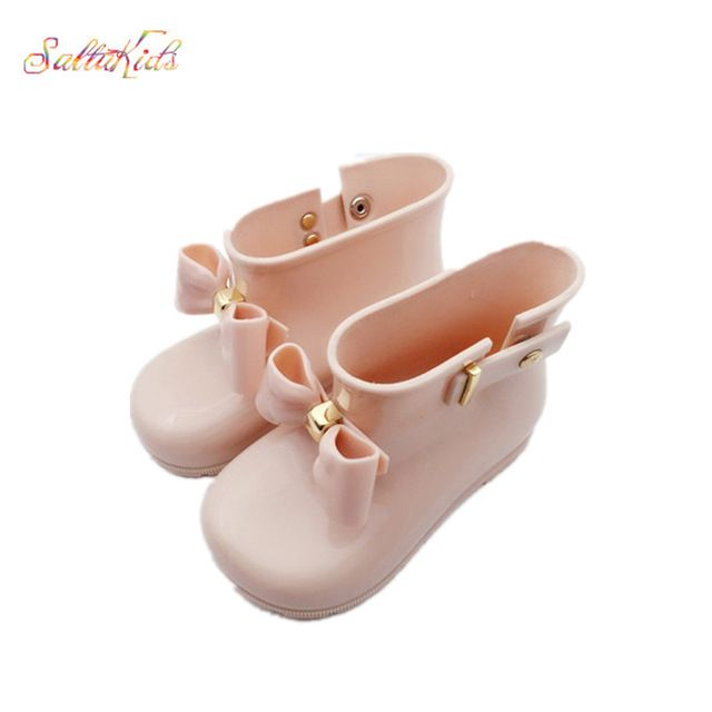 Super Deals $10.60, Buy Waterproof Child Rubber Boots Jelly Soft Infant Shoe Girl Boots Baby Rain Boots Kids With Bow Girls Children Rain Shoes Bow BO39