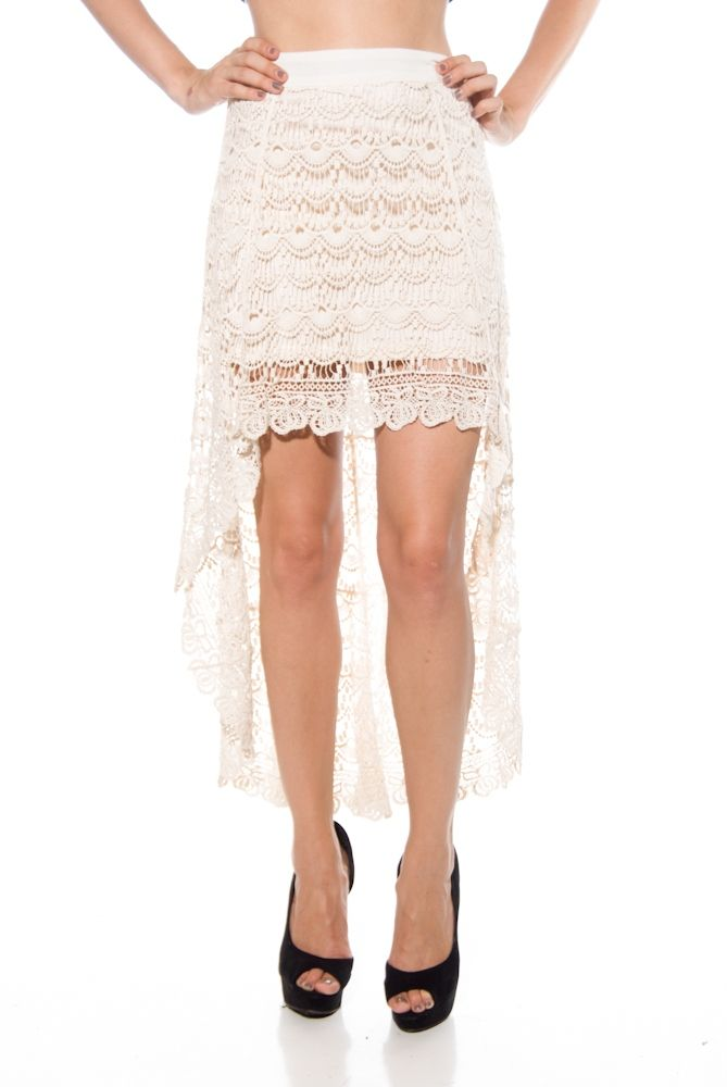 Shake Senora High Low Crochet Skirt - Taupe from Blu Pepper at Lucky 21