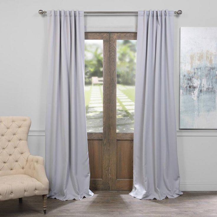 Exclusive Fabrics & Furnishings Fog Grey Blackout Curtain - 50 in. W x 120 in. L (Pair)