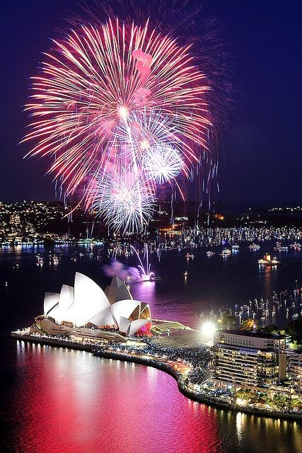 Nothing like the Sydney Opera House. Sydney, Australia ~ Always spectacular fireworks on New Year's.