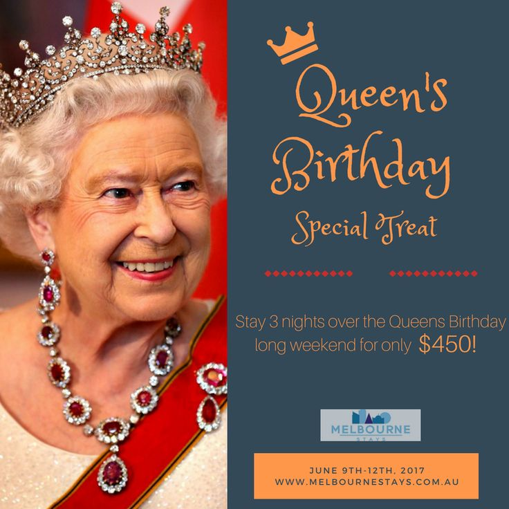 """Hear ye! Hear ye! It's the Queen's Birthday! ♥ Enjoy your long weekend and explore the wonders of Melbourne. Looking for a place to stay? Visit our websites and book now to avail our Queen's Birthday Special Discount! To book, kindly click on the link below. Or message us for more info. 😉  Stay 3 nights over the Queens Birthday long weekend for only $450! Click on """"BOOK NOW"""". Discounts apply to direct website bookings only. Conditions and blackout dates also apply."""