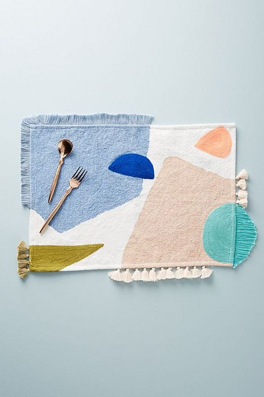 mod colorful placemats from Anthropologie's spring collection