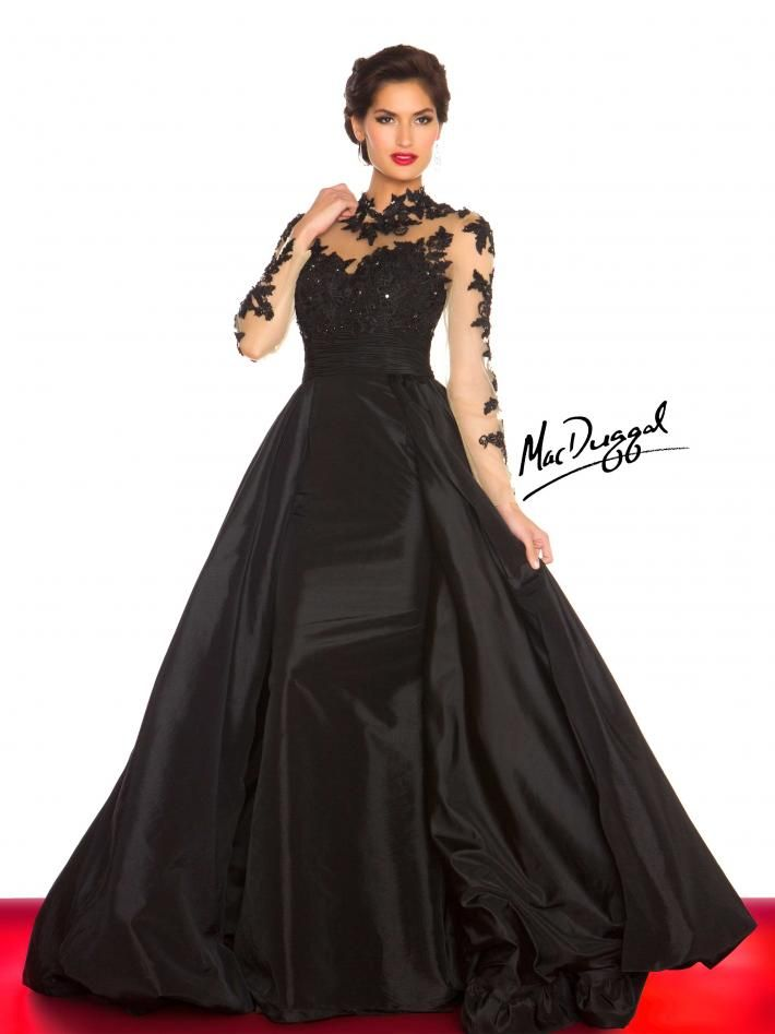 A Line High Neck Lace Long Sleeves Floor Length Taffeta Prom Dresses Evening