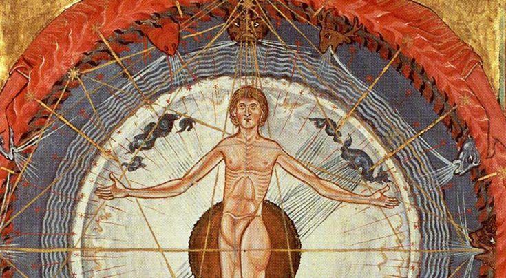 Hildegarda z Bingen opisuje człowieka jako centru świata, ale u podstaw stworzenia nie kładzie bezosobowej energii, ale osobowego Boga, mówił w Dwójce ks. dr Jacek Wróbel. Na zdj. fragm. strony z dzieła Liber Divinorum Operum Hildegardy