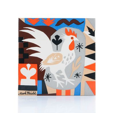Tile by illustrator Mark Hearld for Tate to celebrate the exhibition British Folk Art at Tate Britain. Inspired by James William of Wrexham's patchwork quilt.