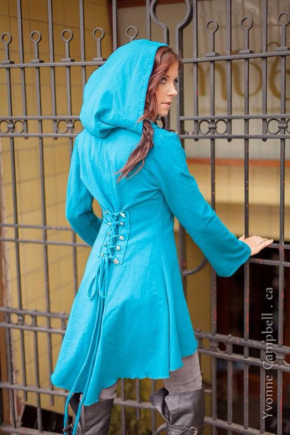 TEAL corset laced hoodie Fairy pixie steampunk cloak jacket modern red riding hood girly pirate- love this would love to make one of my own!