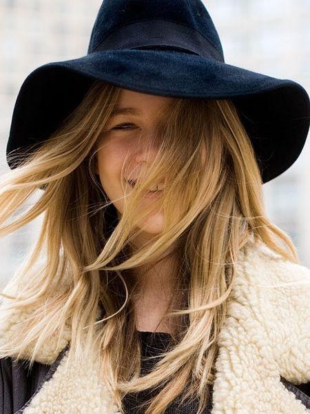 Hat and coat detailFashion Weeks, Style Hair, Jackets Fashion, New York Fashion, Fall Fashion, Floppy Fedoras, Knits Hats, Floppy Hats, Black