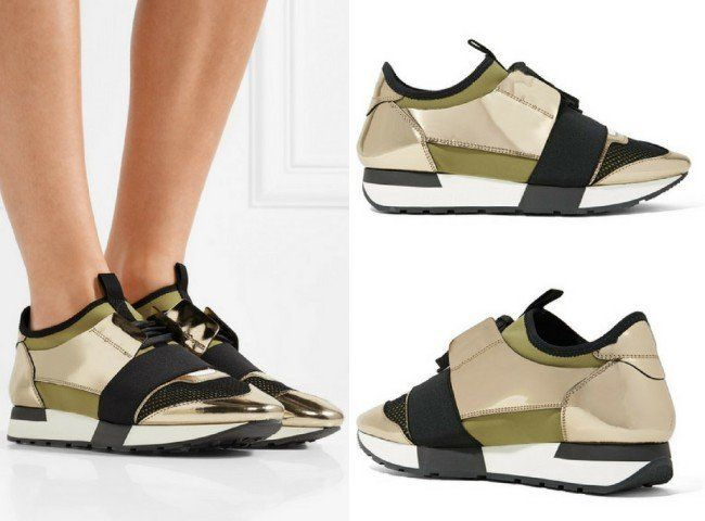 a55400d2ffdbe BALENCIAGA RACE RUNNER METALLIC LEATHER, MESH AND NEOPRENE SNEAKERS