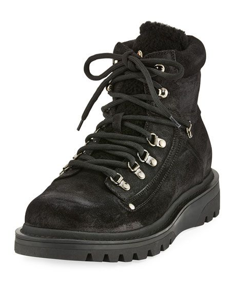 Hiking Black With Egide Shearling Boot Trim moncler Suede Moncler fEqCwx4U