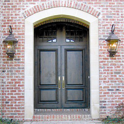 Custom Old World Two Panel Doors Solid Wood Entry Wood