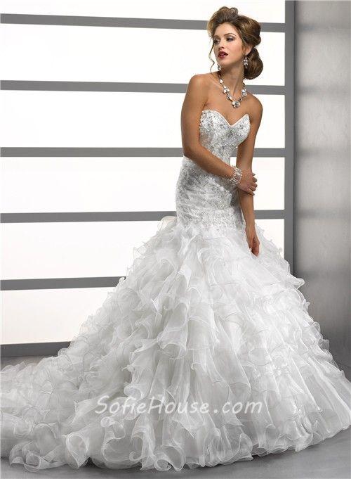 Mermaid Wedding Dresses with Crystals and organiza  | ... Mermaid Sweetheart Crystals Beading Organza Wedding Dress With Ruffles