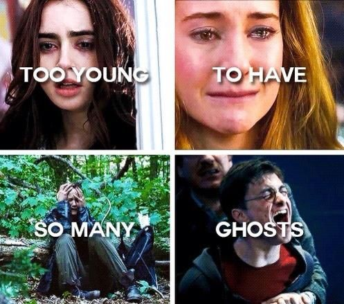 the mortal instruments, divergent, the hunger games and harry potter