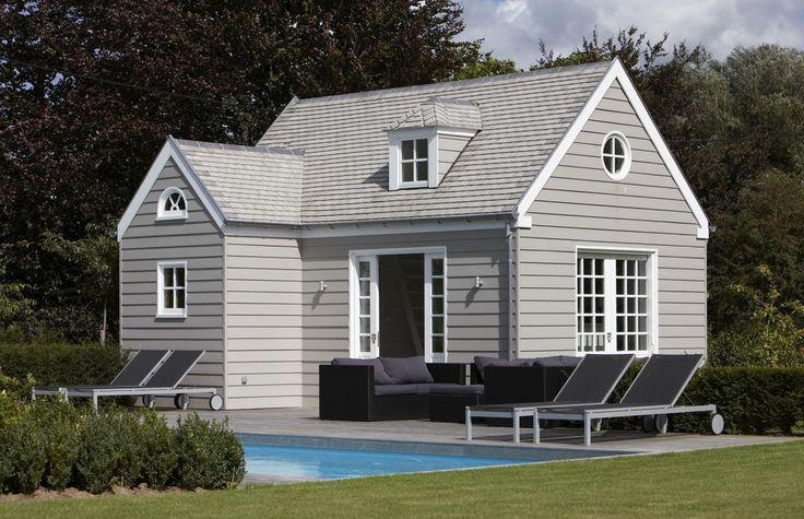 Stunning grey weatherboard guest pool house guest for Weatherboard garage designs