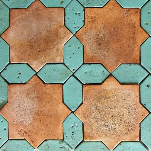 "LEVANTINE 3 | 9 1/2"" x 9 1/2"" available in any organic terracotta shade with any field color combination (shown here: antique green & somek)"