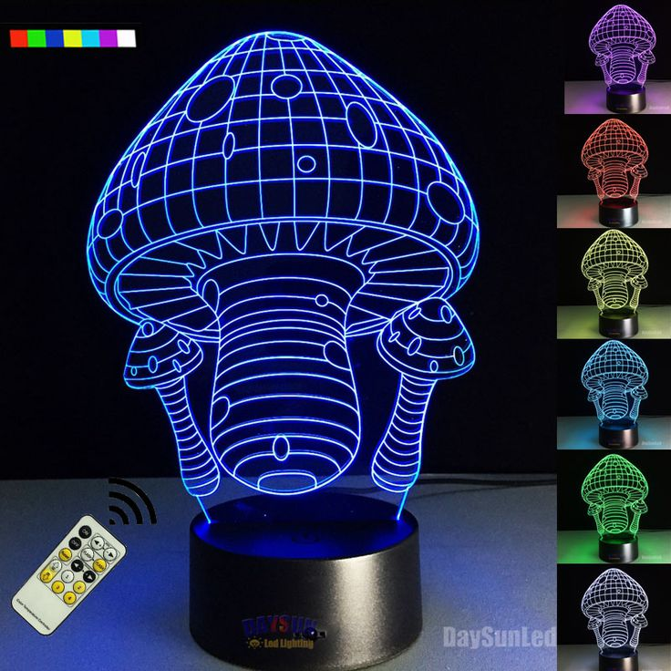 Mushroom 3D Night Light Bedroom Decoration Remote Lamp USB Nightlight Colorful LED Children's Creative Holiday Gifts