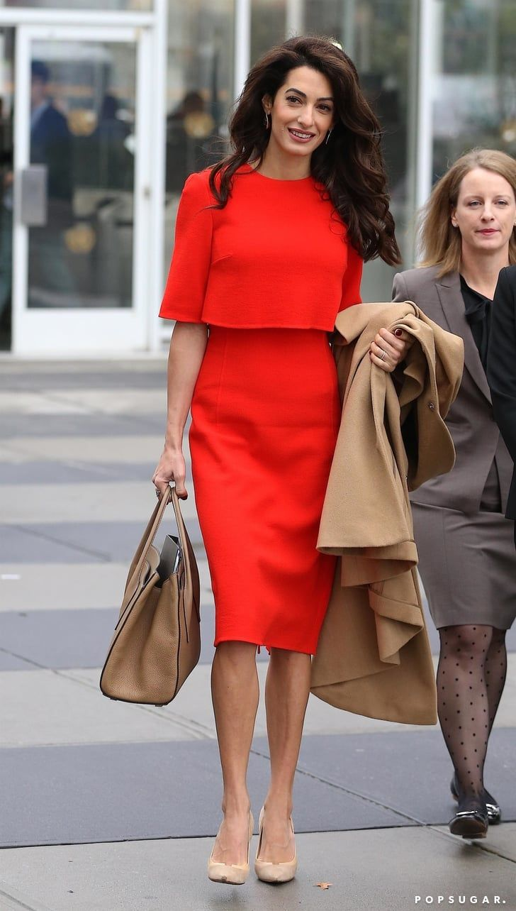 Fashion Shopping Style Amal Clooney S Outfit Has Me Singing Lady In Red At The Top Of My Lungs Red Dress Outfit Summer Work Outfits Chic Work Outfit [ 1284 x 728 Pixel ]