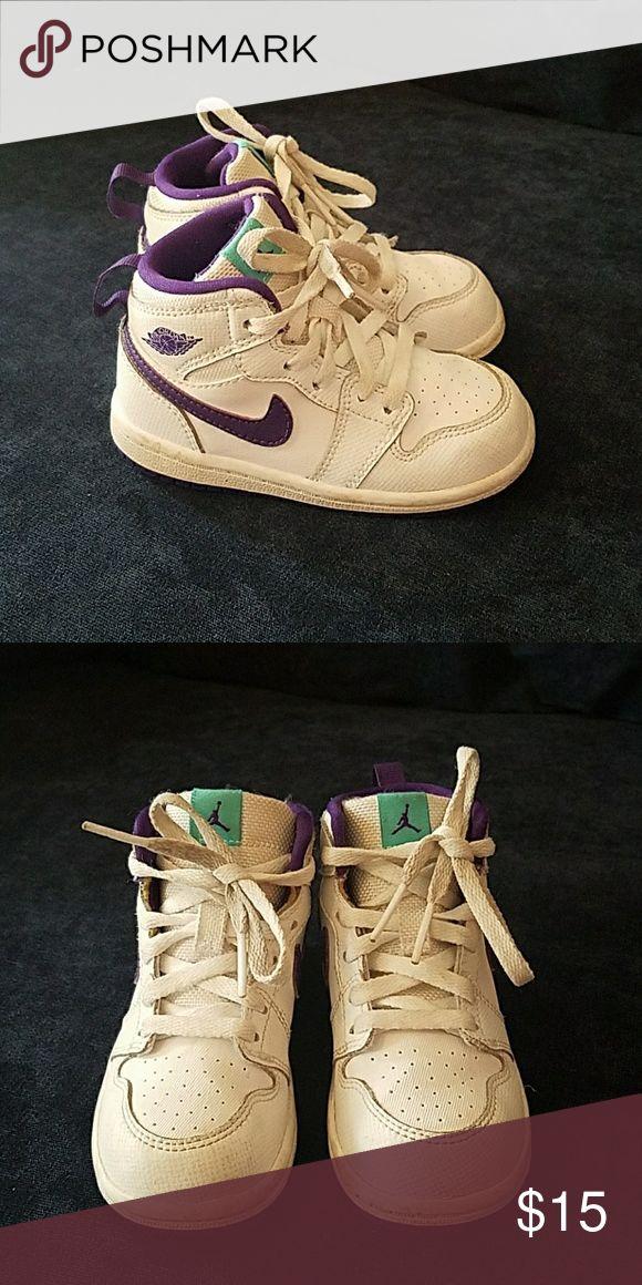 Jordan kid shoes Purple white high top Jordan Shoes Sneakers