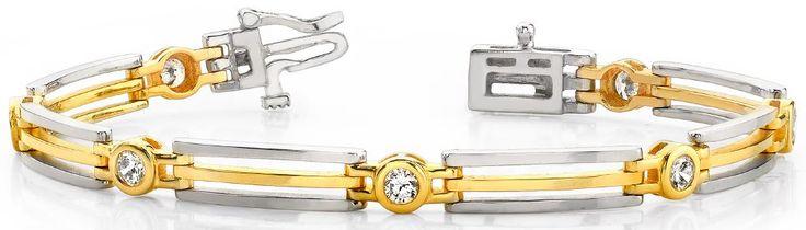 Diamantarmband mit 1.00 Karat Diamanten aus 585er Weiß- und Gelbgold bei www.diamantring.be für nur 1999.00 Euro Versandkostenfrei bestellen.