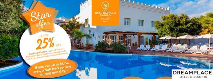Up To 25% OFF #Family & #Fun In #GranCastillo #Tagoro #Hotel At #DreamPlaceHotels #VoucherCodes #Discount #Promo #Coupon #UK #UnitedKingdom #TravelDeals #Spain #Lanzarote #Tenerife #CheapHotels