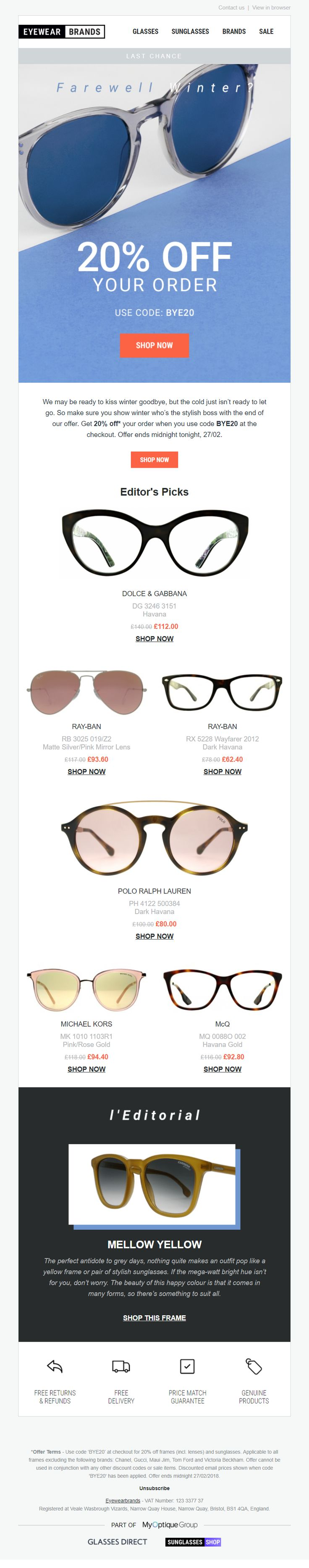 Cold weather email from Eyewear Brands EmailMarketing