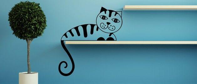Kočka B (1356) / Samolepky na zeď, stěnu a nábytek