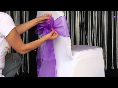 How to tie a Universal Satin Self Tie Chair Cover - YouTube
