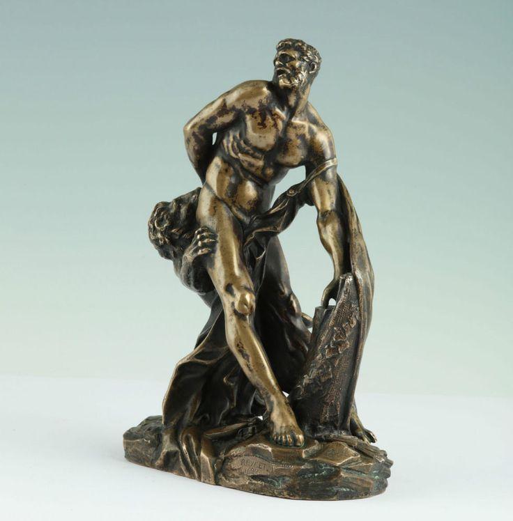 Pierre Puget (1620-1694) Milon & der Löwe Bronze um 1880 Statue Sculpture Figur