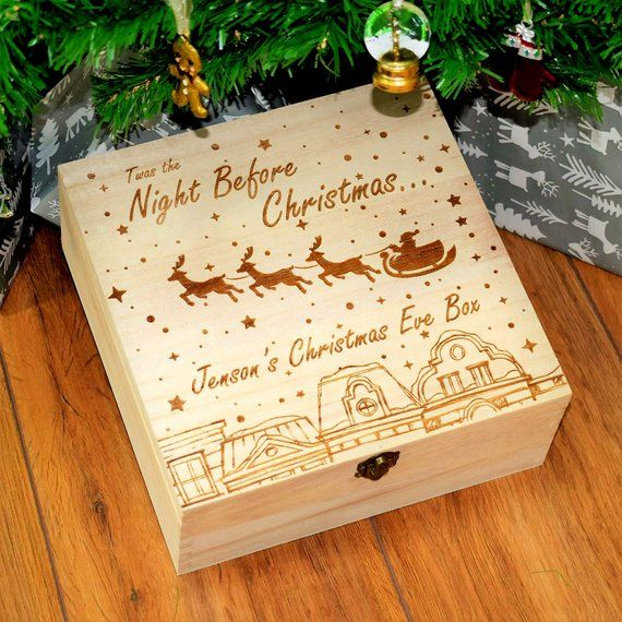 Personalised Engraved Wooden Christmas Eve Xmas Box